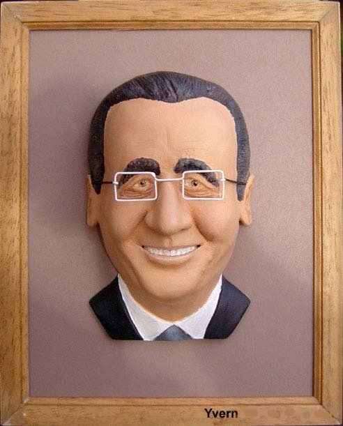 Caricature de François Hollande sculpture encadrée